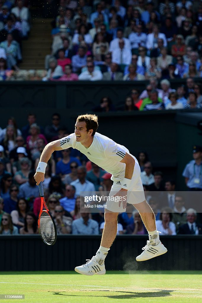 Andy Murray of Great Britain serves during the Gentlemen's Singles fourth round match against Mikhail Youzhny of Russia on day seven of the Wimbledon Lawn Tennis Championships at the All England Lawn Tennis and Croquet Club on July 1, 2013 in London, England.