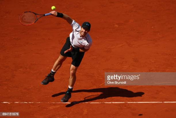 Andy Murray of Great Britain serves during the men's singles semi final match against Stan Wawrinka of Switzerland on day thirteen of the 2017 French...