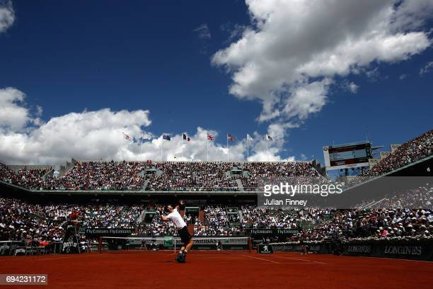 Andy Murray of Great Britain serves during the mens singles semifinal match against Stan Wawrinka of Switzrerland on day thirteen of the 2017 French...