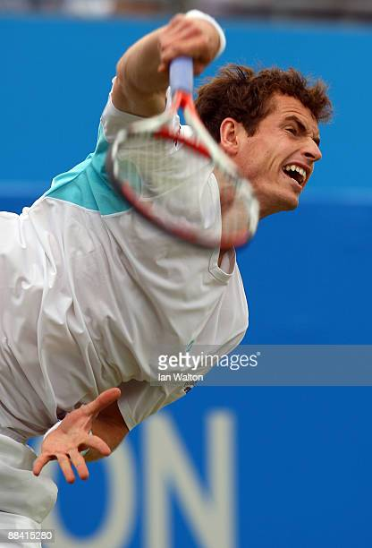 Andy Murray of Great Britain serves during the men's third round match against Guillermo Garcia-Lopez of Spain during Day 3 of the the AEGON...