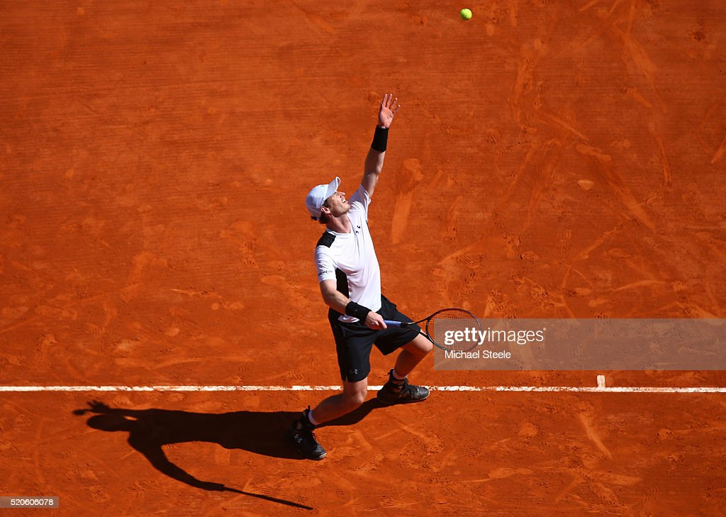 Andy Murray of Great Britain serves during the second round match against Pierre-Hughes Herbert of France on day three of the Monte Carlo Rolex Masters at Monte-Carlo Sporting Club on April 12, 2016 in Monte-Carlo, Monaco.