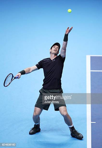 Andy Murray of Great Britain serves during the Singles Final against Novak Djokovic of Serbia at the O2 Arena on November 20 2016 in London England