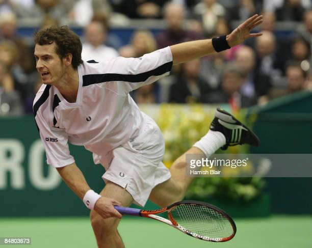 Andy Murray of Great Britain serves during the singles final match against Rafael Nadal of Spain during day seven of the ABN AMRO World Tennis...