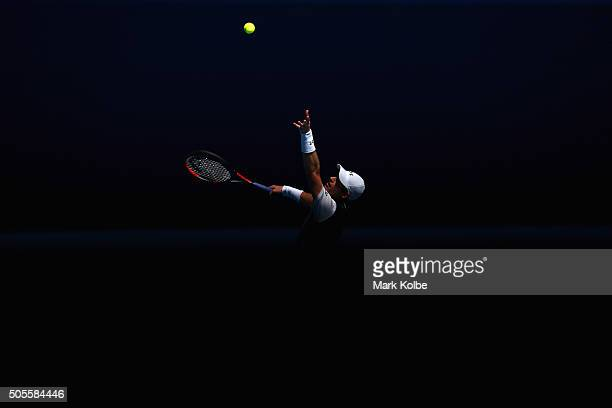 Andy Murray of Great Britain serves in his first round match against Alexander Zverev of Germany during day two of the 2016 Australian Open at...