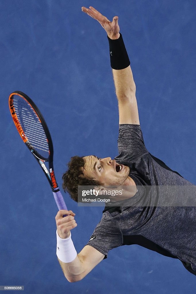 Andy Murray of Great Britain serves in his fourth round match against Bernard Tomic of Australia during day eight of the 2016 Australian Open at Melbourne Park on January 25, 2016 in Melbourne, Australia.