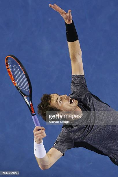 Andy Murray of Great Britain serves in his fourth round match against Bernard Tomic of Australia during day eight of the 2016 Australian Open at...