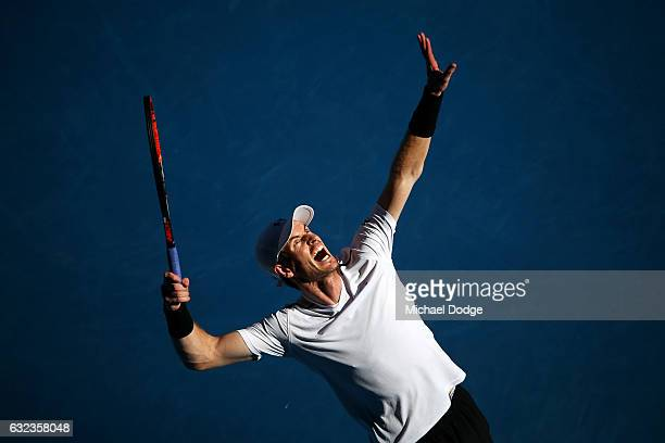 Andy Murray of Great Britain serves in his fourth round match against Mischa Zverev of Germany on day seven of the 2017 Australian Open at Melbourne...