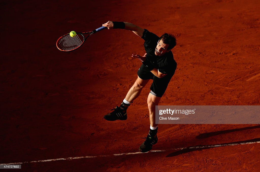 Andy Murray of Great Britain serves in his Men's Singles match against Facundo Arguello of Argentina on day two of the 2015 French Open at Roland Garros on May 25, 2015 in Paris, France.