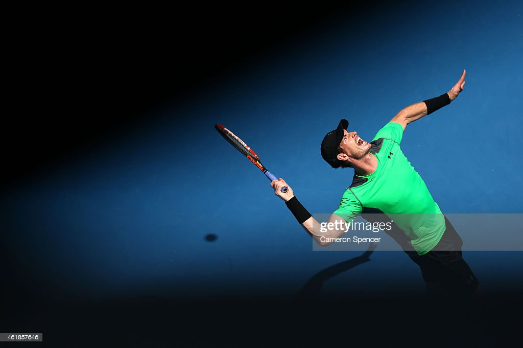 Andy Murray of Great Britain serves in his second round match against Marinko Matosevic of Australia during day three of the 2015 Australian Open at Melbourne Park on January 21, 2015 in Melbourne, Australia.