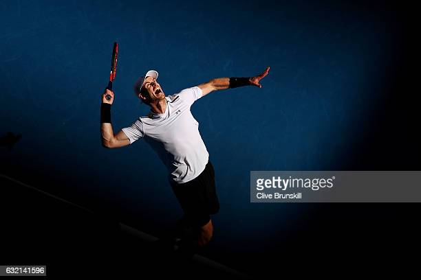 Andy Murray of Great Britain serves in his third round match against Sam Querrey of the United States on day five of the 2017 Australian Open at...