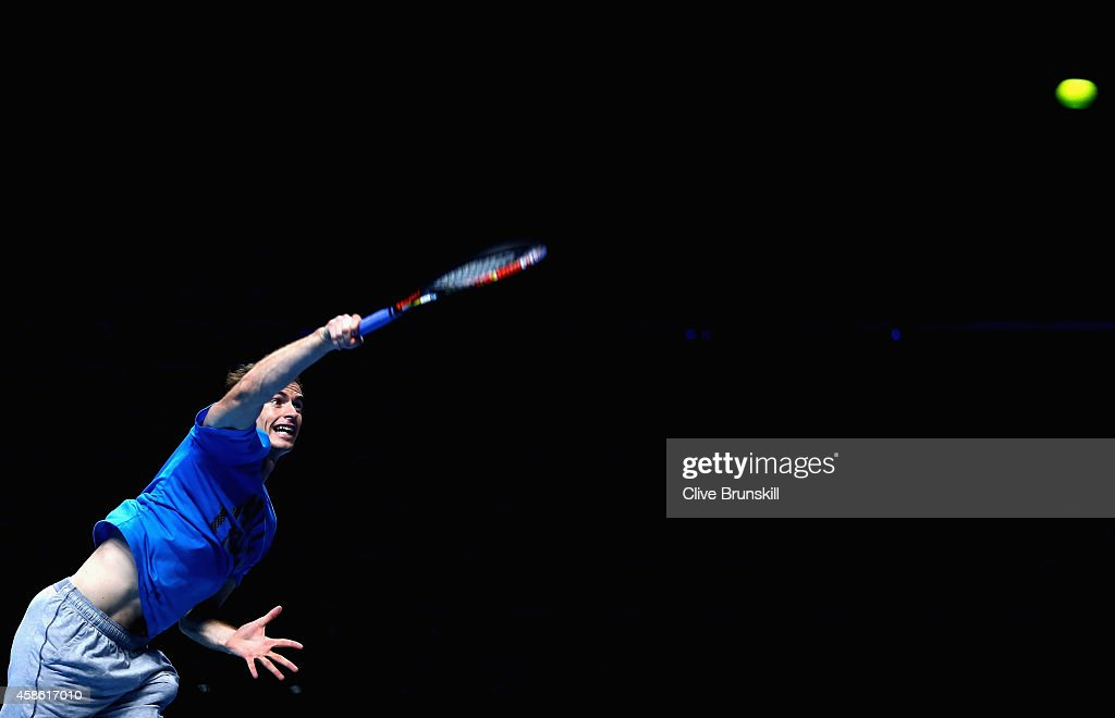 Andy Murray of Great Britain serves in practice during the Barclays ATP World Tour Finals tennis previews at the O2 Arena on November 8, 2014 in London, England.