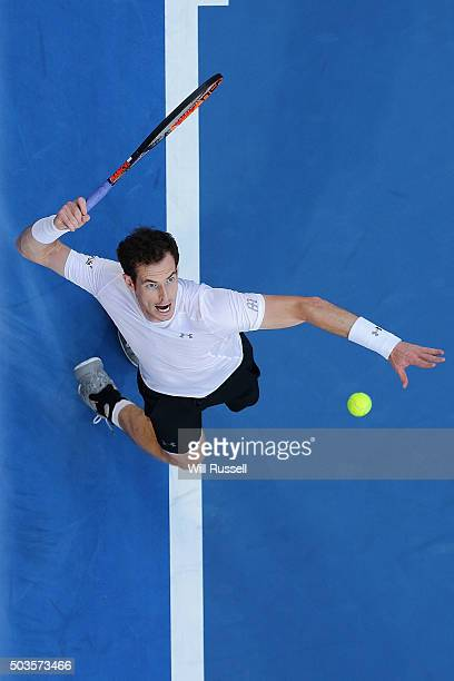 Andy Murray of Great Britain serves in the men's single match against Nick Krygios of Australia Green during day four of the 2016 Hopman Cup at Perth...