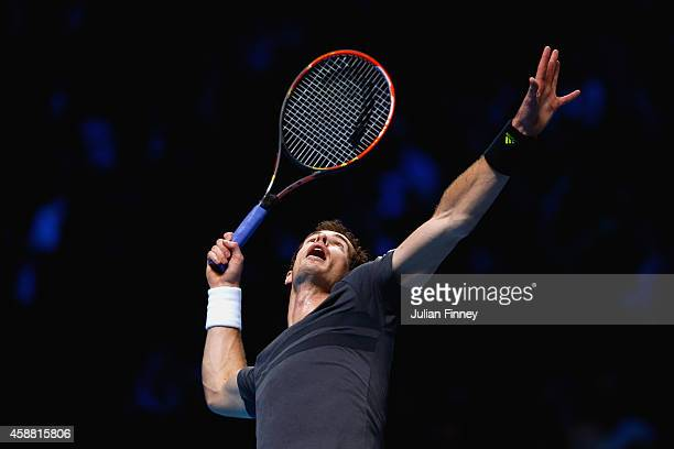 Andy Murray of Great Britain serves in the round robin singles match against Milos Raonic of Canada on day three of the Barclays ATP World Tour...