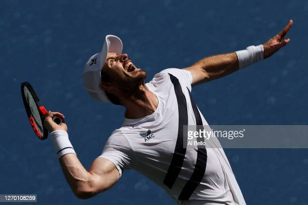 Andy Murray of Great Britain serves the ball during his Men's Singles first round match against Yoshihito Nishioka of Japan on Day Two of the 2020 US...