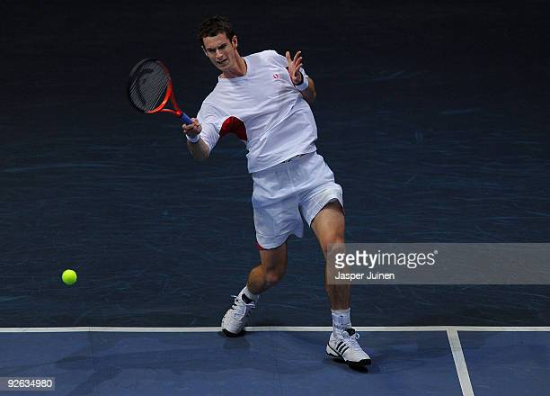 Andy Murray of Great Britain serves the ball in his first round match against Daniel GimenoTraver of Spain during the ATP 500 World Tour Valencia...