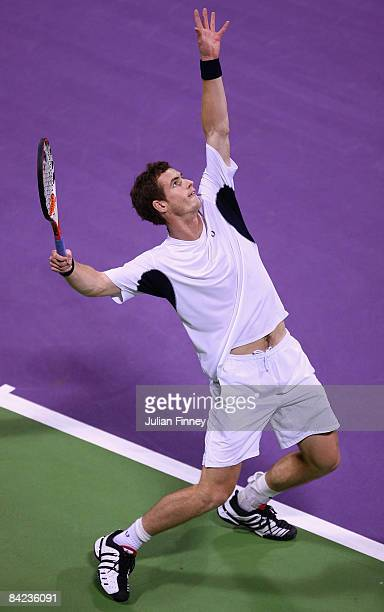 Andy Murray of Great Britain serves to Andy Roddick of United States during the final of the Exxon Mobil Qatar Open Tennis on January 10 2009 in Doha...