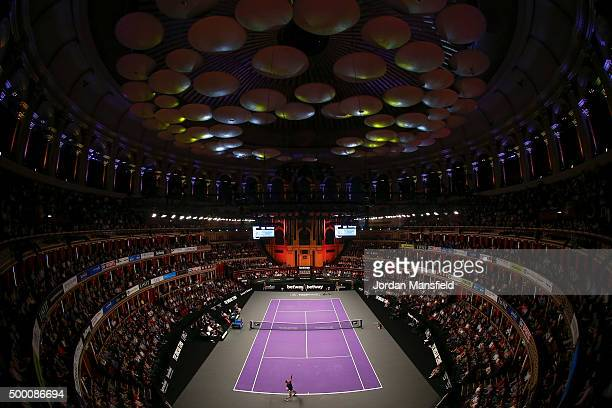 Andy Murray of Great Britain serves to David Ferrer of Spain during their Tie Break Tens singles match during day four of the Masters Tennis at the...
