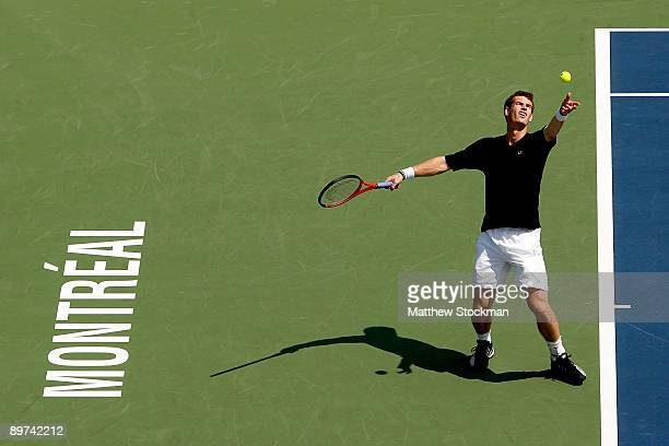 Andy Murray of Great Britain serves to Jeremy Chardy of France during the Rogers Cup at Uniprix Stadium on August 11 2009 in Montreal Canada