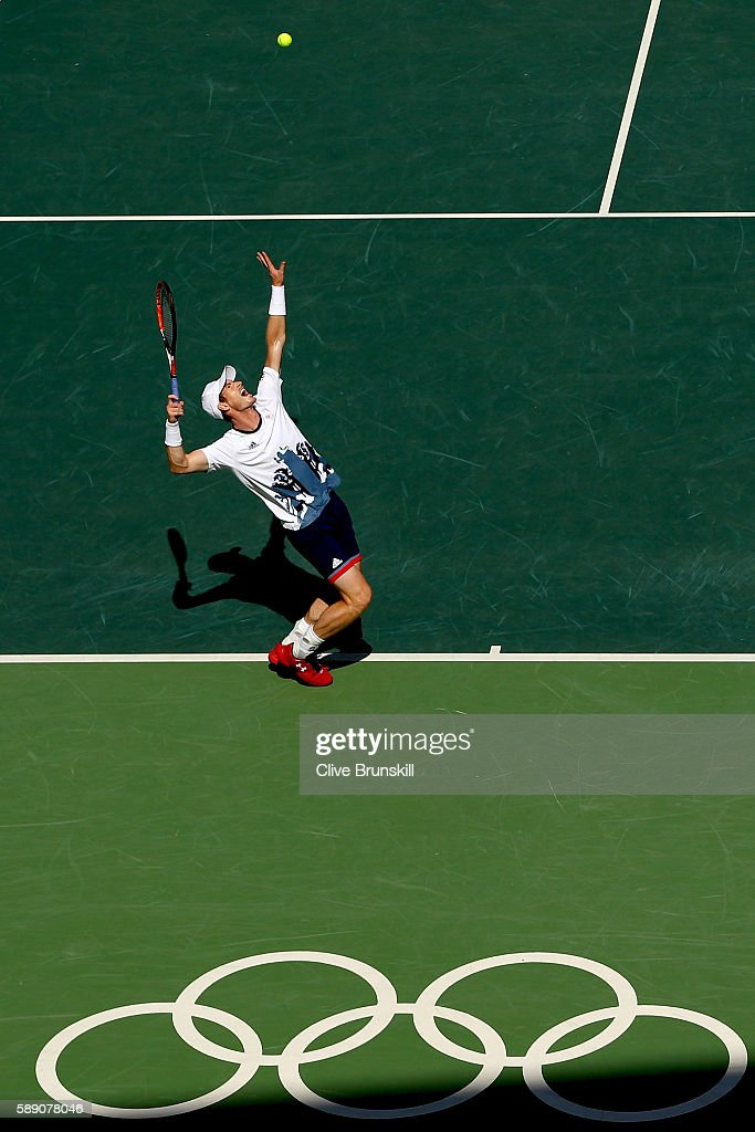 Andy Murray of Great Britain serves to Kei Nishikori of Japan during the Men's Singles Semifinal Match on Day 8 of the Rio 2016 Olympic Games at the Olympic Tennis Centre on August 13, 2016 in Rio de Janeiro, Brazil.