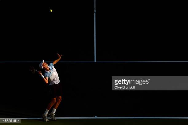 Andy Murray of Great Britain serves to Kevin Anderson of South Africa during their Men's Singles Fourth Round match on Day Eight of the 2015 US Open...