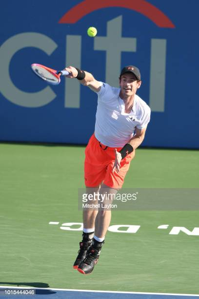 Andy Murray of Great Britain serves to Kyle Edmund of Great Britain during Day Six of the Citi Open at the Rock Creek Tennis Center on August 1 2018...