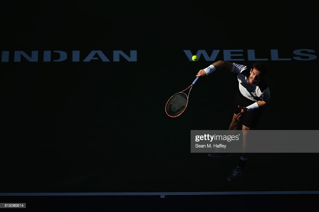 Andy Murray of Great Britain serves to Marcel Granollers of Spain during the BNP Paribas Open at the Indian Wells Tennis Garden on March 11 at Indian Wells Tennis Garden on March 12, 2016 in Indian Wells, California