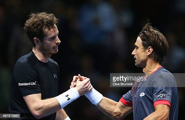 Andy Murray of Great Britain shakes hands with David Ferrer of Spain after their men's singles match during day two of the Barclays ATP World Tour...