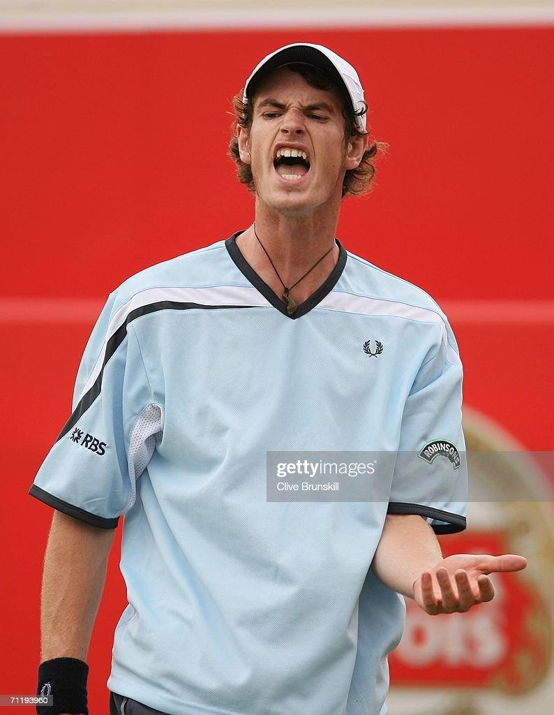 Andy Murray of Great Britain shouts against Janko Tipsarevic of Serbia and Montenegro during the Stella Artois Championships at Queen's Club on June 13, 2006 in London, Engand.
