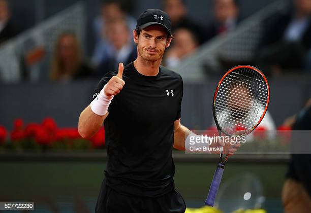 Andy Murray of Great Britain shows his emotion during his three set victory against Radek Stepanek of the Czech Republic in their second round match...