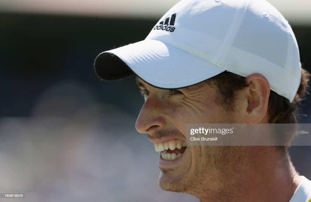 Andy Murray of Great Britain shows his emotions against Marin Cilic of Croatia during their quarter final match at the Sony Open at Crandon Park Tennis Center on March 28, 2013 in Key Biscayne, Florida.