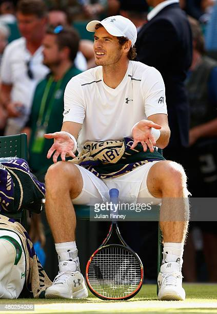 Andy Murray of Great Britain shows his frustration during the Gentlemens Singles Semi Final match against Roger Federer of Switzerland during day...