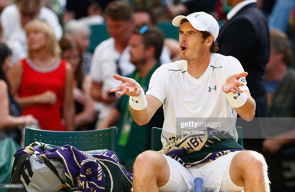 Andy Murray of Great Britain shows his frustration during the Gentlemens Singles Semi Final match against Roger Federer of Switzerland during day eleven of the Wimbledon Lawn Tennis Championships at the All England Lawn Tennis and Croquet Club on July 10, 2015 in London, England.