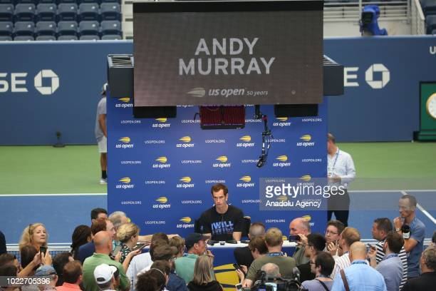 Andy Murray of Great Britain speaks during a press conference ahead of US Open 2018 tournament in Louis Armstrong Stadium in Flushing New York United...