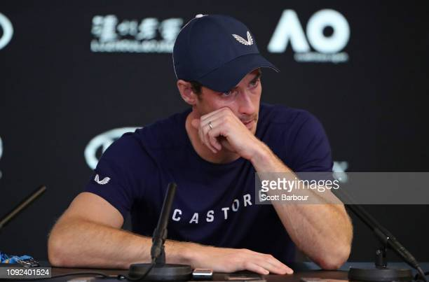 Andy Murray of Great Britain speaks during a press conference ahead of the 2019 Australian Open at Melbourne Park on January 11, 2019 in Melbourne,...