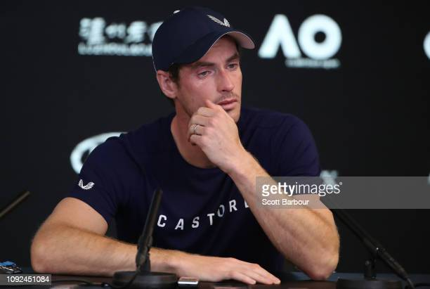 Andy Murray of Great Britain speaks during a press conference ahead of the 2019 Australian Open at Melbourne Park on January 11 2019 in Melbourne...