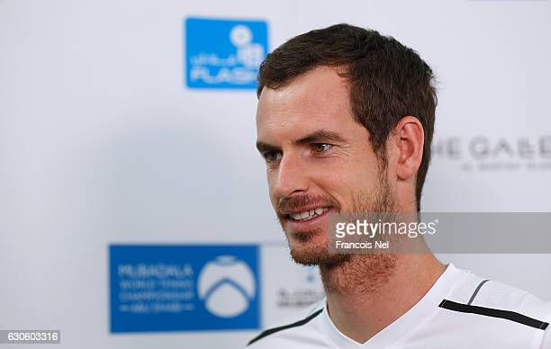 Andy Murray of Great Britain speaks to media during the offical players launch of 2016 Mubadala Tennis Championship at Al Maryah Island on December...