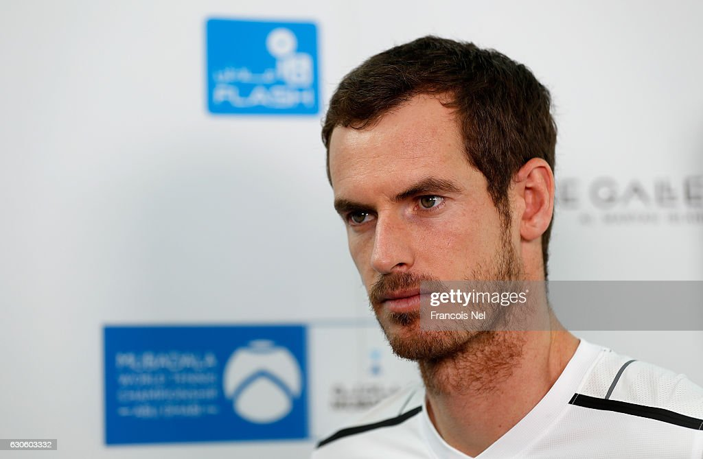 Andy Murray of Great Britain speaks to media during the offical players launch of 2016 Mubadala Tennis Championship at Al Maryah Island on December 28, 2016 in Abu Dhabi, United Arab Emirates.