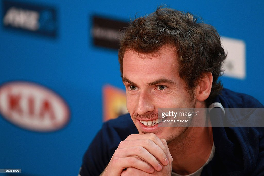 Andy Murray of Great Britain speaks to the media ahead of the 2013 Australian Open at Melbourne Park on January 12, 2013 in Melbourne, Australia.