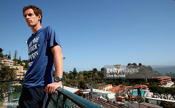 Andy Murray of Great Britain speaks to the press with the back drop of the Monte Carlo coast prior to his second round match during day one of the...