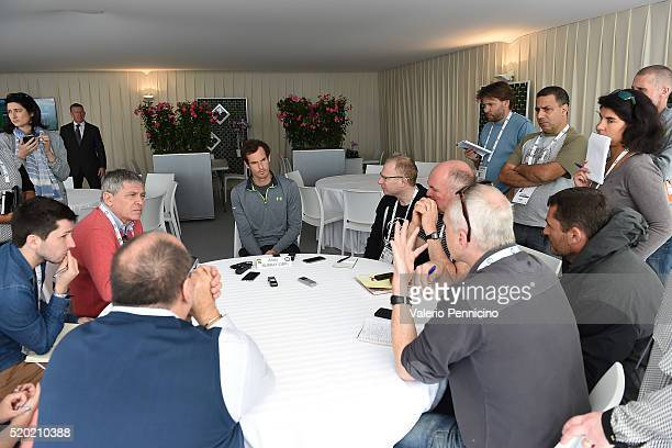 Andy Murray of Great Britain speaks with journalist during media day during day One of the ATP Monte Carlo Masters at the MonteCarlo Country Club on...