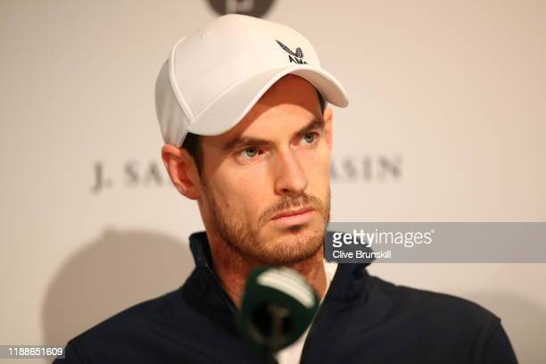 Andy Murray of Great Britain takes part in a press conference during Day 2 of the 2019 Davis Cup at La Caja Magica on November 19, 2019 in Madrid,...