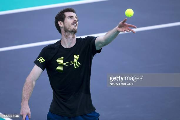 Andy Murray of Great Britain takes part in a tennis practice session in Abu Dhabi prior to heading to compete in the Australian Open in January on...