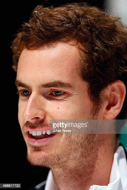 Andy Murray of Great Britain talks to the media during a press conference ahead of the start of the Davis Cup Final at Flanders Expo on November 26,...
