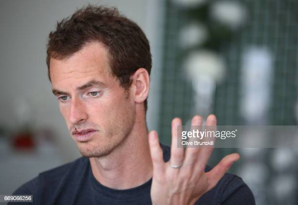 Andy Murray of Great Britain talks to the media during a press conference on day one of the Monte Carlo Rolex Masters at MonteCarlo Sporting Club on...