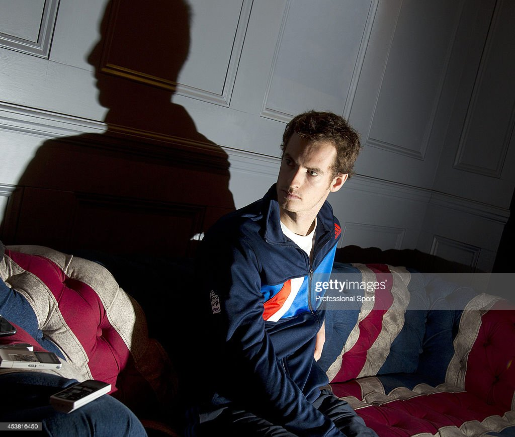 Andy Murray of Great Britain talks to the media during previews for the ATP World Tour Finals Tennis at the O2 Arena on November 19, 2011 in London, England.