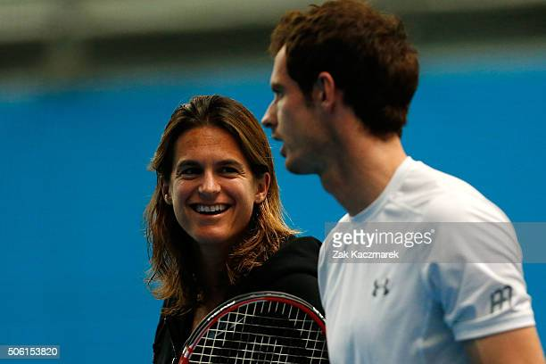 Andy Murray of Great Britain talks with coach Amelie Mauresmo in a practice session during day five of the 2016 Australian Open at Melbourne Park on...