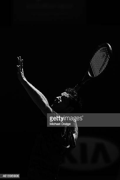 Andy Murray of Great Britain to smash a lobbed ball during a practice session ahead of the 2015 Australian Open at Melbourne Park on January 16 2015...