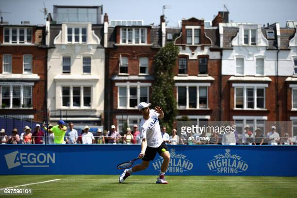 Andy Murray of Great Britain trains during day one of the 2017 Aegon Championships at Queens Club on June 19 2017 in London England