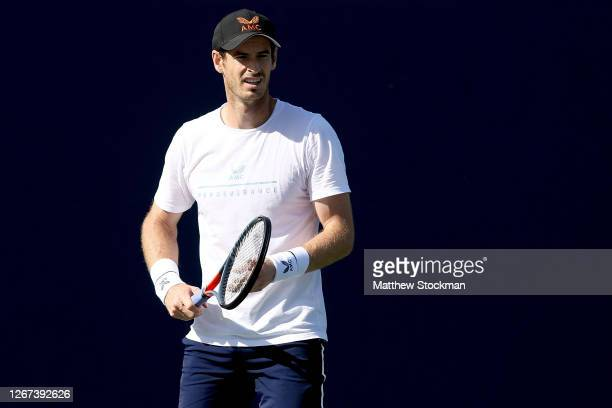 Andy Murray of Great Britain trains in preparation for the Western & Southern Open at the USTA Billie Jean King National Tennis Center on August 20,...