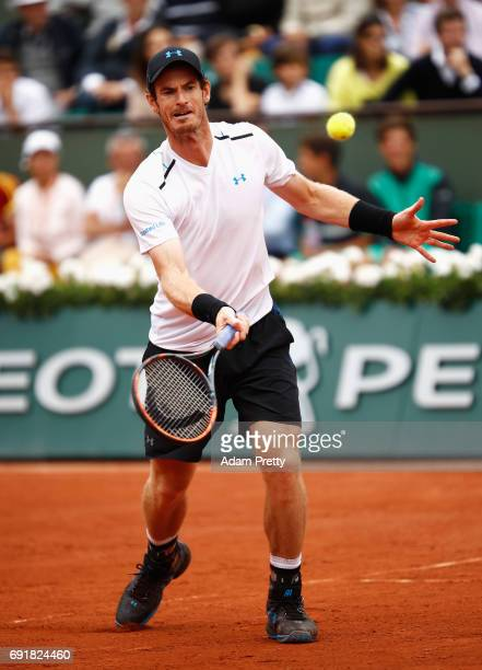 Andy Murray of Great Britain volleys in his men's singles third round match against Juan Martin Del Potro of Argentina during day seven of the French...